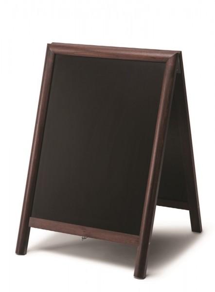 Kundenstopper mit doppelseitig beschreibbarer Tafel u. Holzrahmen