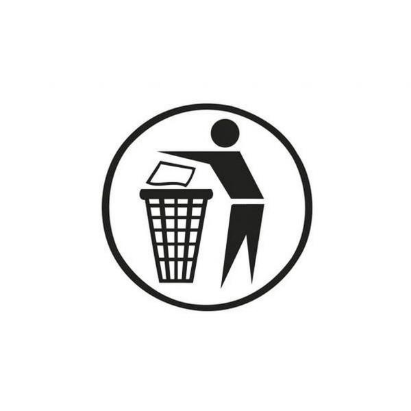 Aufkleber Saubermännchen schwarz Ø 150 mm für Abfallbehälter