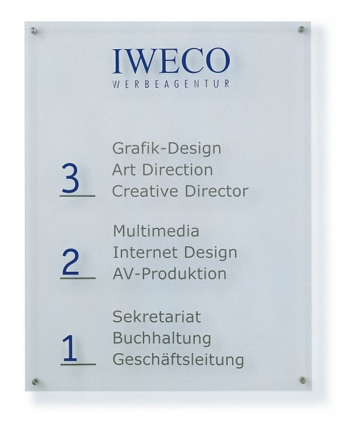 Wegweiser Wandmontage aus Acrylglas UNITEX K Breite 1 m in 7 Höhen