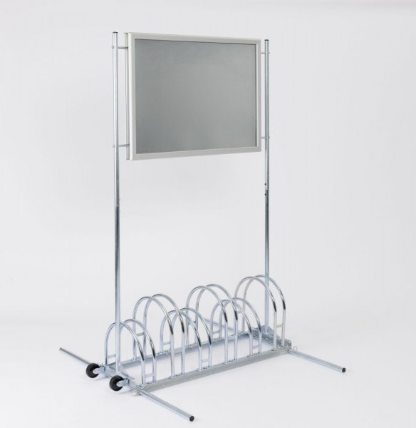 Werbe Fahrradständer für 3 / 6 Fahrräder mit Posterrahmen CW 5000