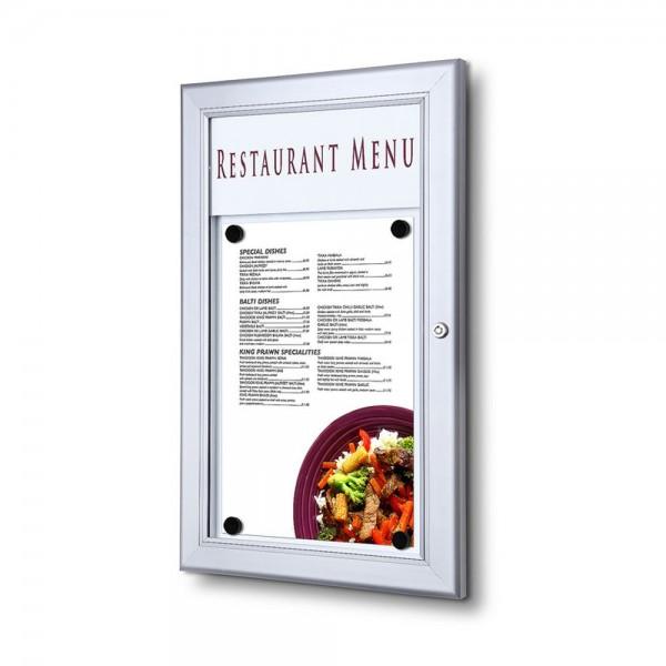 Schaukasten für Speisekarten wetterfest u. abschließbar für DIN A4