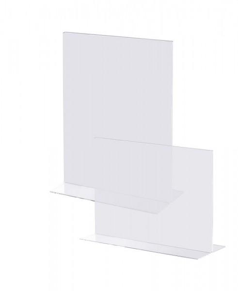 Acryl Aufsteller in T-Form Prospekt Halter Ständer für Tisch Theke