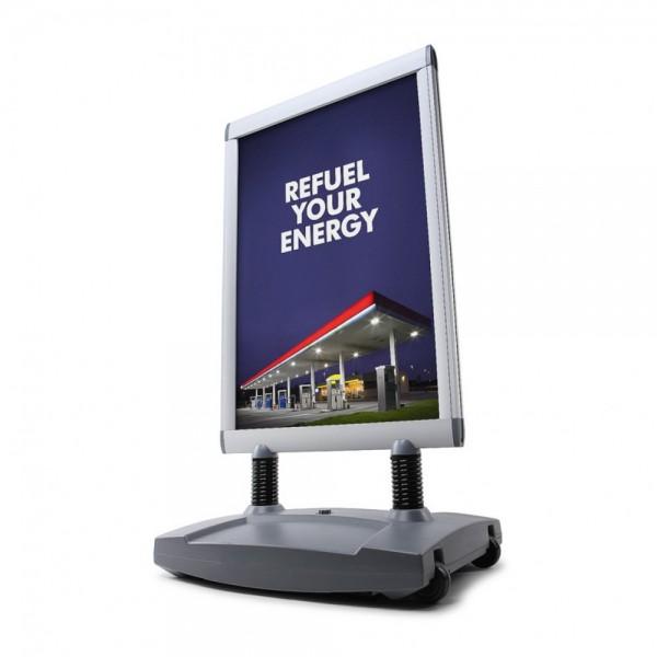 Kundenstopper Windtalker® Excel doppelseitig mit befüllbarem Fuß