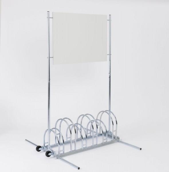 Werbe-Fahrradständer BW 5000 für 3 / 6 Fahrräder mit Werbefläche