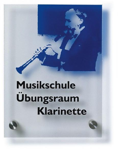 Türschild UNITEX K aus klarem Acrylglas beschriftet nach Vorgabe