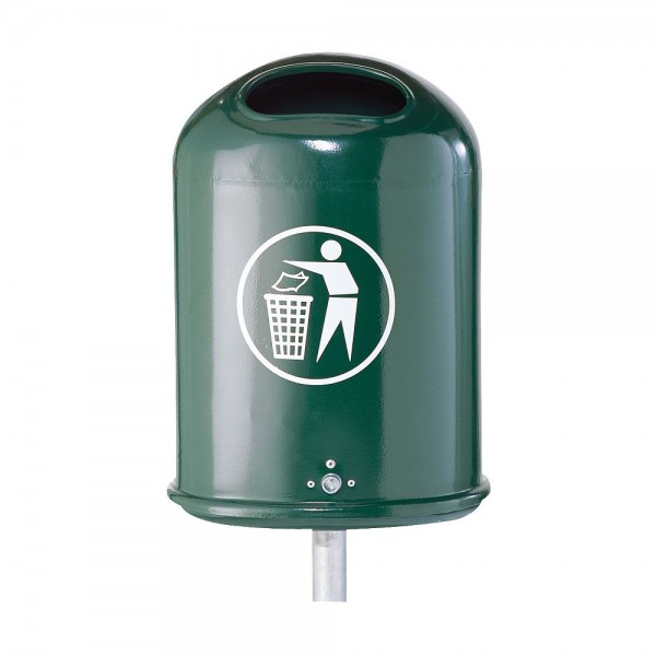 Abfallbehälter Abfallsammler oval für Außenbereich mit Bodenklappe