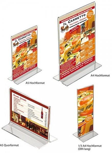 Tisch-Aufsteller T-Aufsteller Acryl Werbe-Ständer Prospekthalter