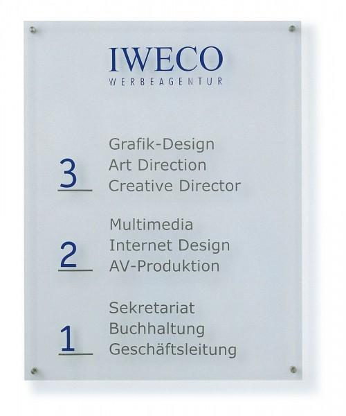 Wegweiser aus Acrylglas UNITEX K Wandmontage Breite 600 mm 7 Höhen