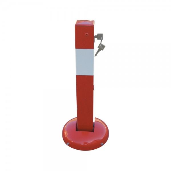 Absperrpfosten umlegbar elastisch Dübelbefestigung Profilzylinder