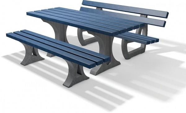 Tisch und 2 Bänke Set Tivoli in 4 Farben aus Recycling Kunststoff