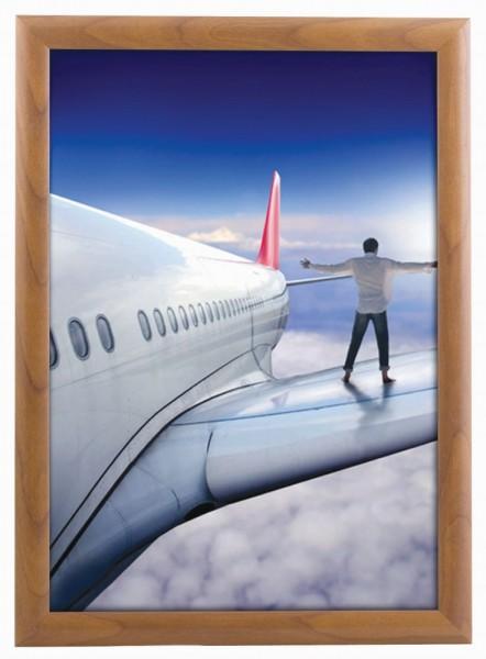Alu Klapprahmen mit 25mm breitem Profil in Holz Optik Plakatrahmen