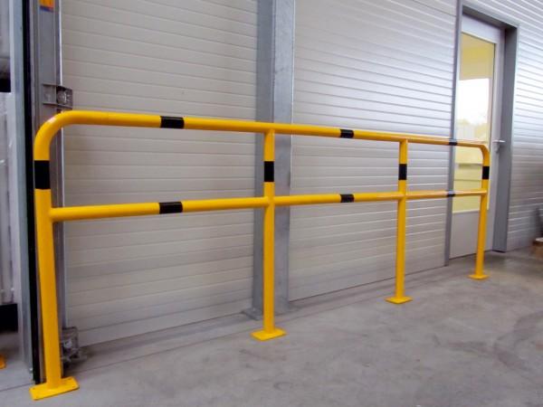 Schutzgeländer Stahlrohr gelb schwarz Geländersystem zum Aufdübeln