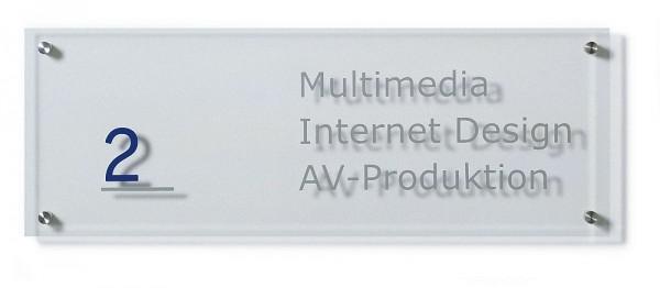 Wegweiser UNITEX K aus Acrylglas Wandmontage Breite 200 mm 3 Höhen