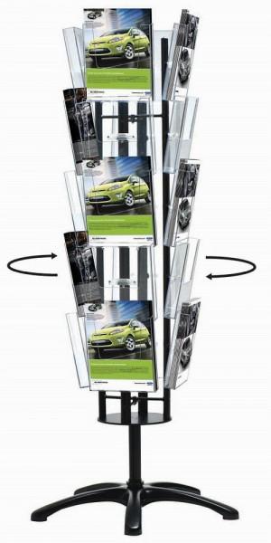Boden - Prospektständer Multiside drehbar mit DIN A4 Prospektboxen