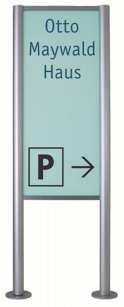 Werbe - Wegweiser Pylon Acrylglas grün opak UNITEX M Werbeschild