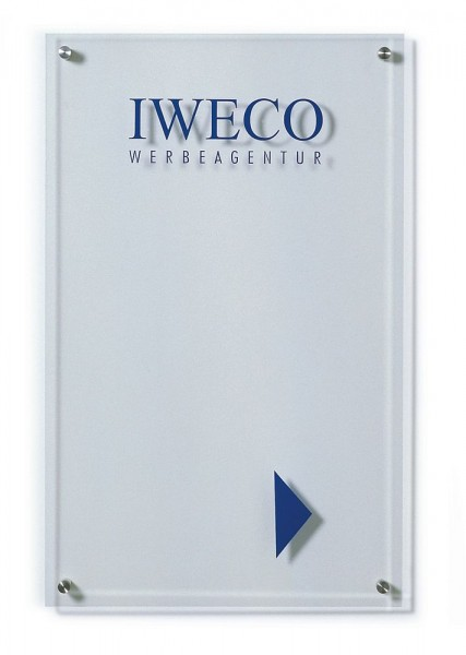 Wegweiser UNITEX K aus Acrylglas Wandmontage Breite 400 mm 5 Höhen