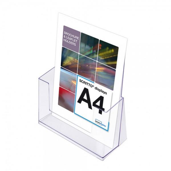 Prospekthalter SCRITTO® DIN A4 Halter Prospekte für Tisch o. Wand
