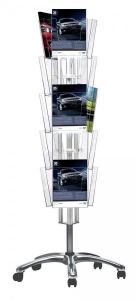 Prospektständer drehbar mit Laufrollen und DIN A4 Prospektboxen