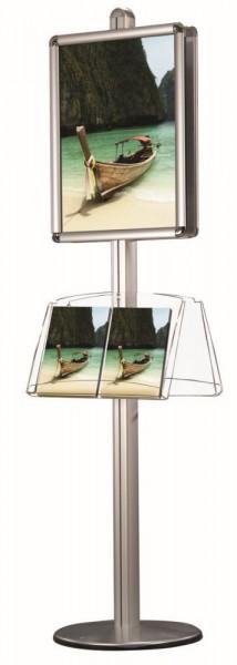 Plakatständer Prospektständer kombiniert Klapprahmen und Ablagen