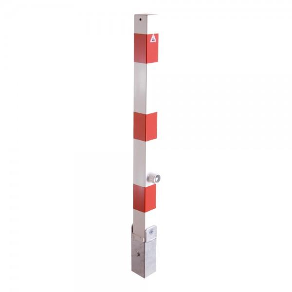 Absperrpfosten Sperrpfosten umlegbar Dreikantverschluß Stahl 70x70