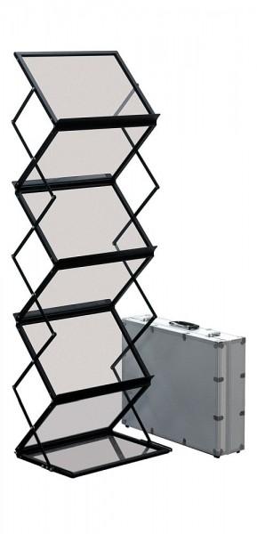 Alu Prospektständer faltbar mobil mit Acryl Ablagen inkl. Koffer
