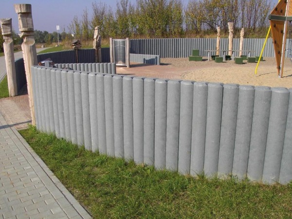 Palisade Vollprofil Hohlkehle Recycling Kunststoff Vollmaterial