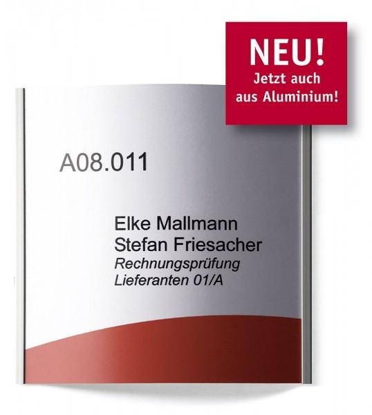 Türschild UNITEX C+ Schild Aluminium silber mit flacher Wölbung