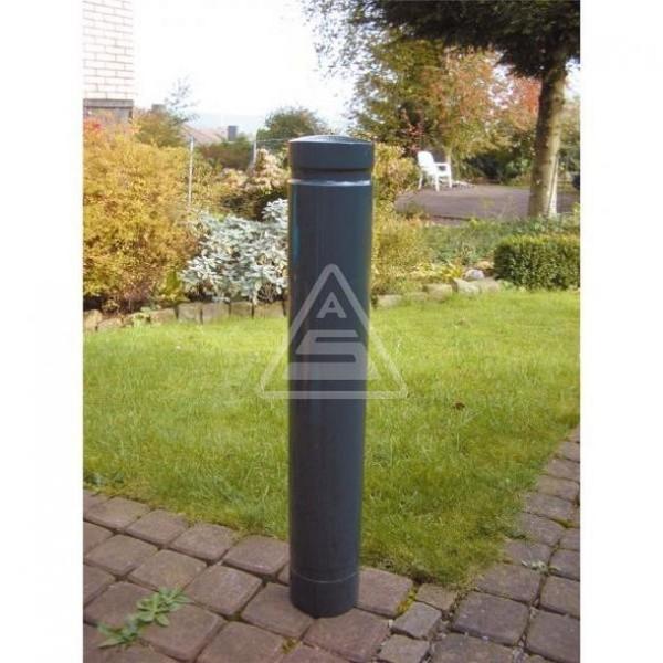 Stilpoller Ø 120 mm Aluminium Poller mit Ziernut Pfosten RAL 7016