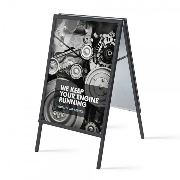 Kundenstopper mit schwarzem 32 mm Profil Aufsteller doppelseitig