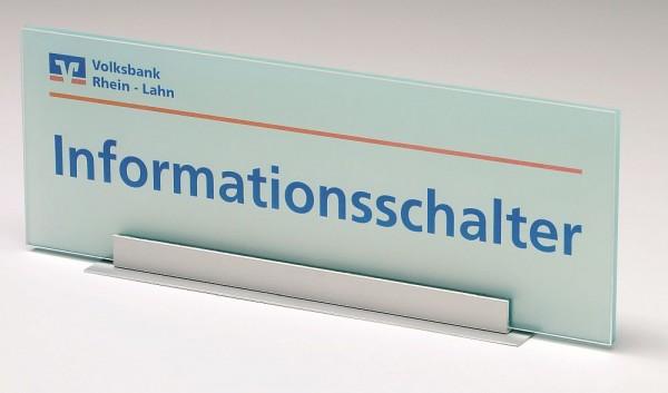 Thekenschild Thekenaufsteller UNITEX M transparent opak Acrylglas
