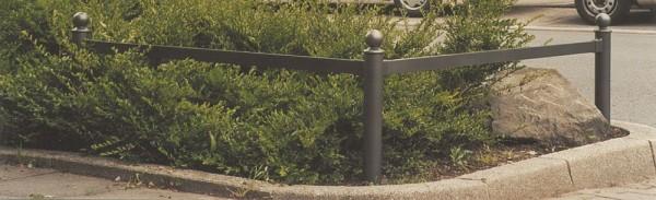 Rabattengeländer Geländer mit Strebe aus Flachstahl grün RAL 6005