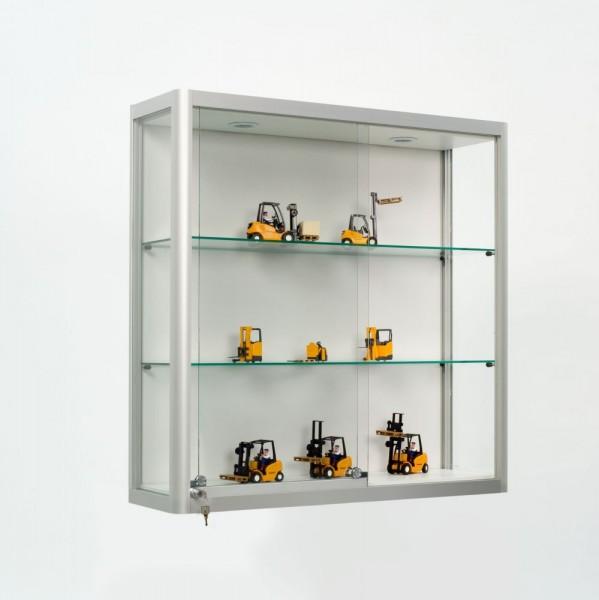vitrine wandvitrine mit beleuchtung und schiebet ren. Black Bedroom Furniture Sets. Home Design Ideas
