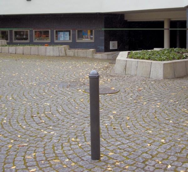 Absperr Stilpfosten Dübelbefestigung, umlegbar, abschließbar grau