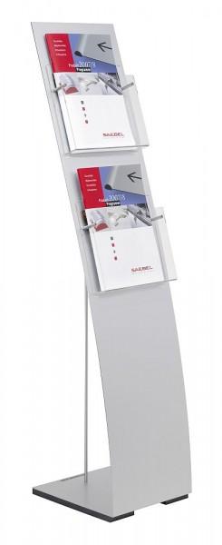 UNITEX P Bodenständer Prospektständer mit A4 Prospekthalter Acryl