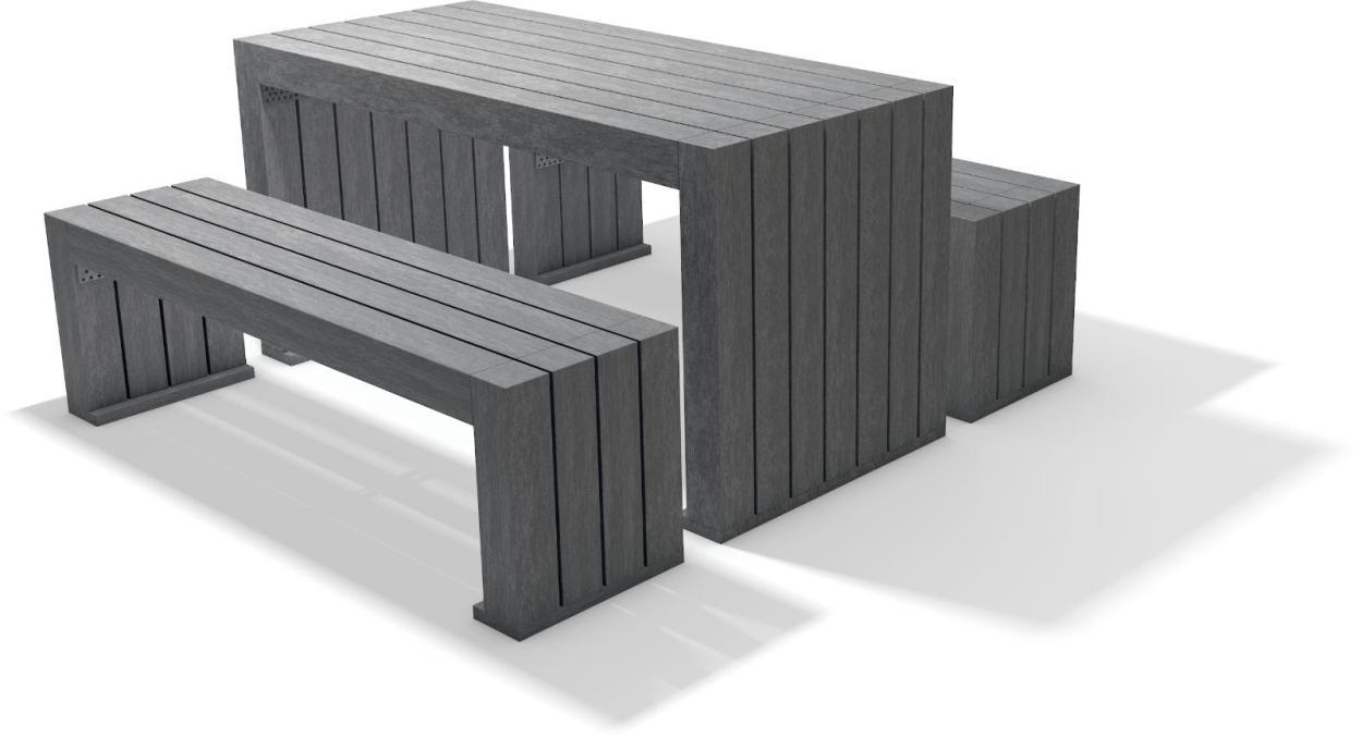 sitzgruppe set calero recycling kunststoff tisch bank amsdirekt. Black Bedroom Furniture Sets. Home Design Ideas