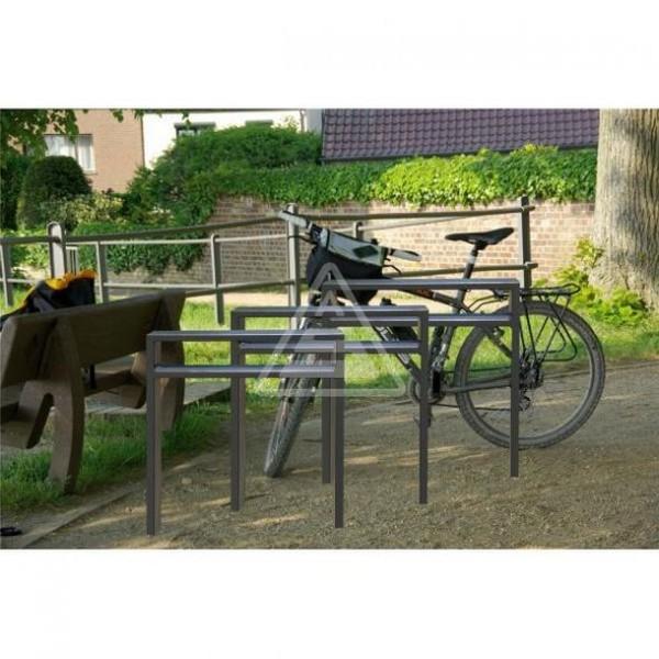 Fahrradständer Rechteckrohr 80 x 20 Stahl mit Querholm Anlehnbügel