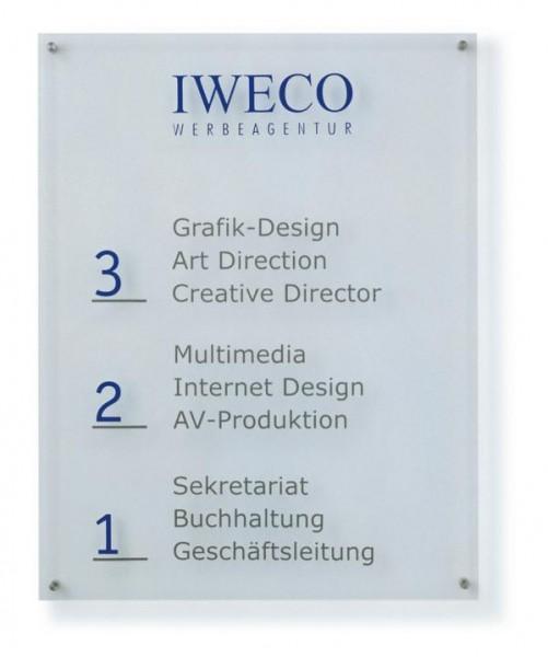Wegweiser aus Acrylglas UNITEX K Breite 800 mm Wandmontage 7 Höhen