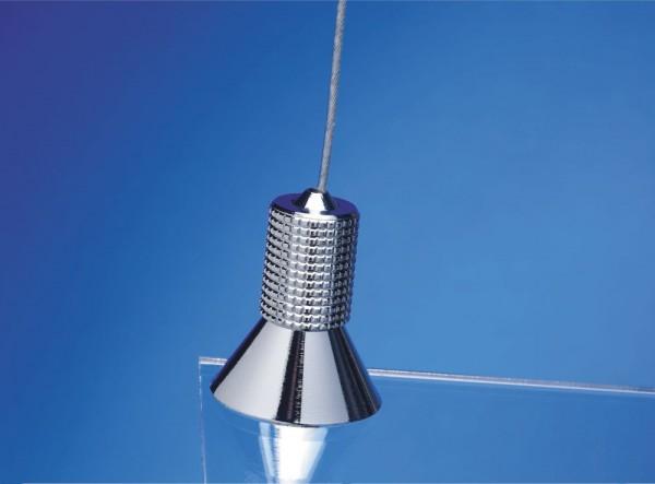 Seilhalter Fly Fix für Stahlseil silber matt Schraub Spannsystem