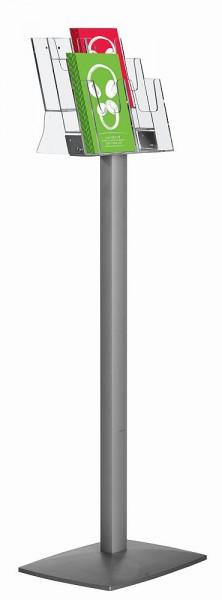Prospektständer Pillar Boden-Ständer Acryl Ablagen und Alu Gestell