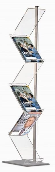 Boden Prospekt Ständer Zick-Zack mit 6 x A4 Prospektablagen Acryl