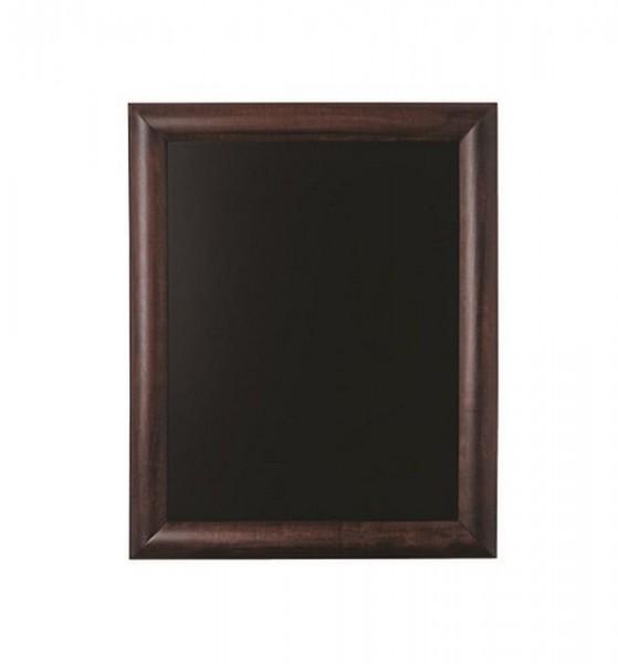 Kreidetafel mit abgerundetem dunkelbraunem Holz Rahmen