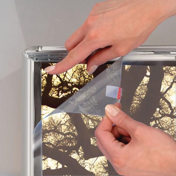 Antireflex PET Schutzfolie für wasserfeste Rahmen 35 mm Oberprofil