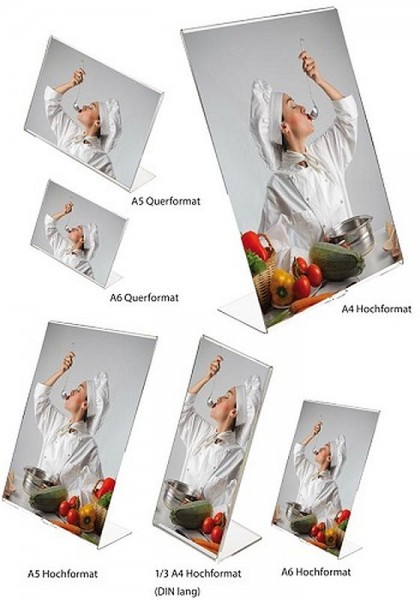 L - Aufsteller Acrylglas Aufsteller Tisch oder Theke Werbeständer